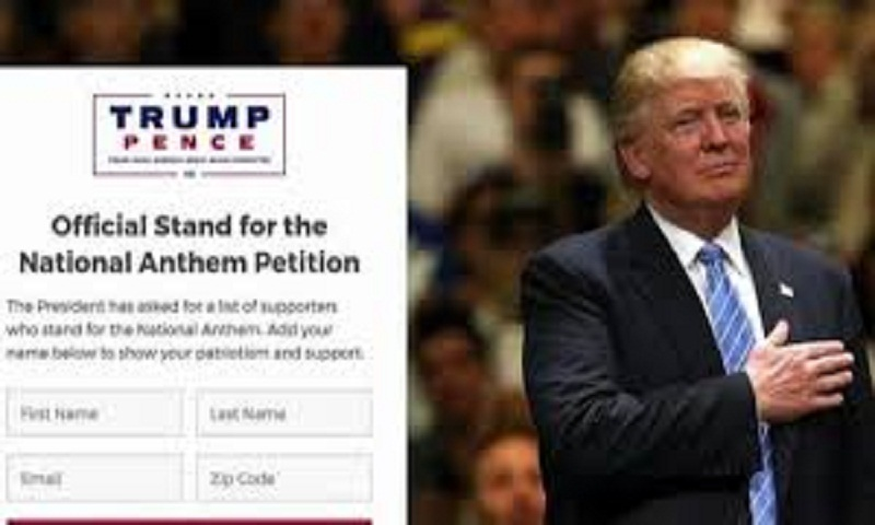 Trump launches petition to stand for national anthem