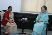 Sushma sits with Khaleda