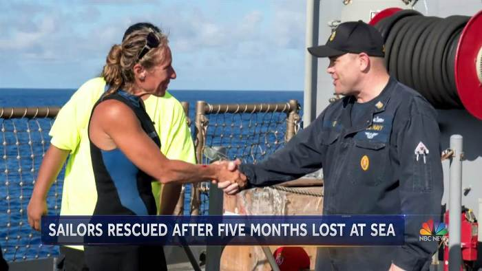 Two women and their dogs rescued by US navy after five months lost at sea