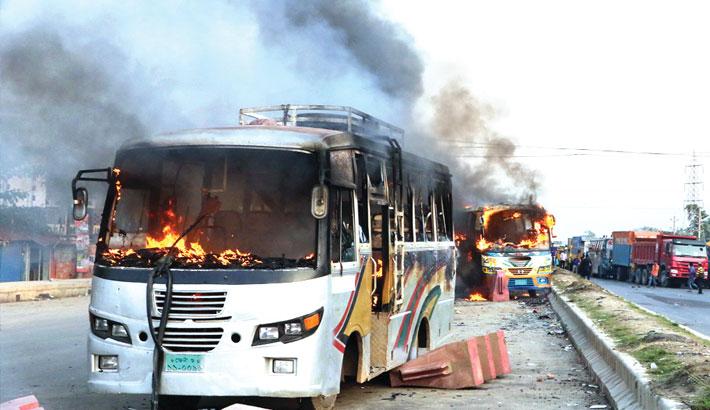 Two buses set on fire near Khaleda's motorcade in Feni