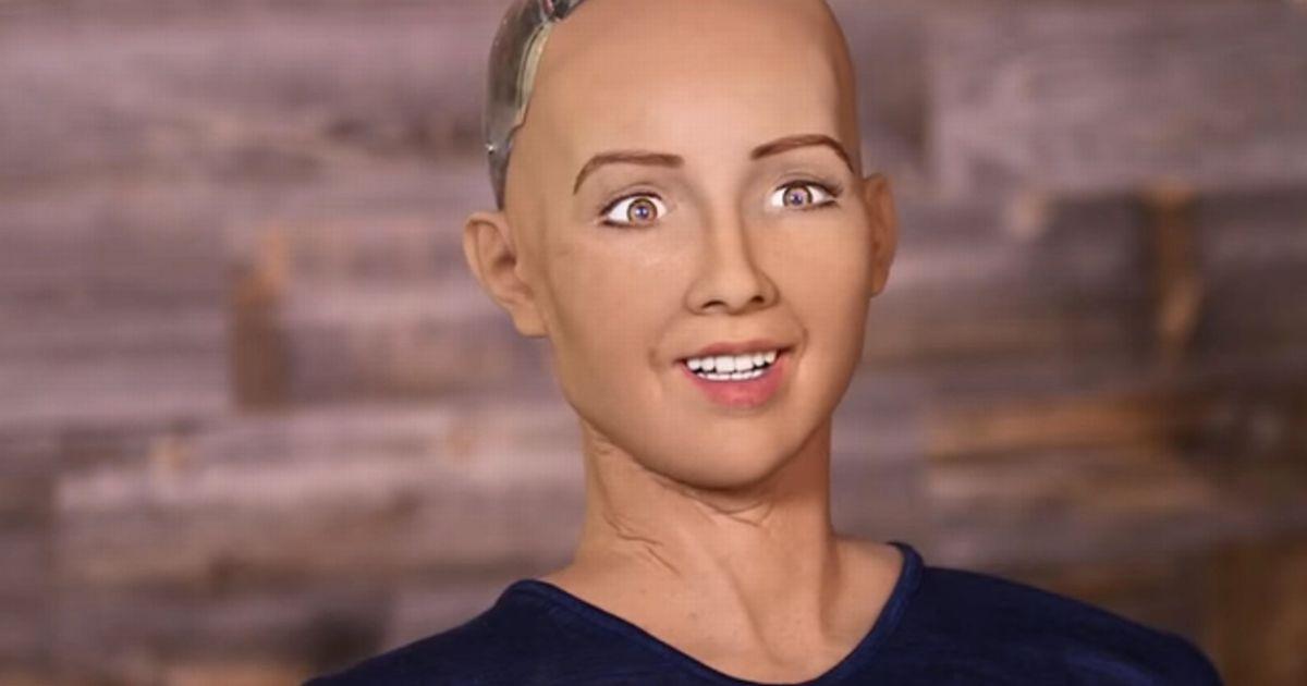 Humanoid robot Sophia in city