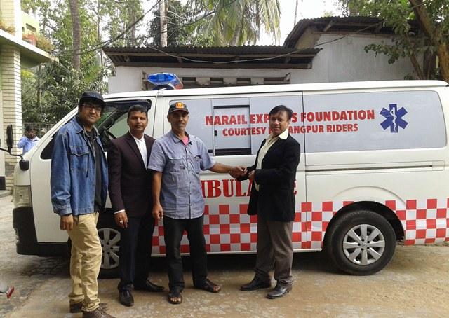 Narail Express gets ambulance gifted by Rangpur Riders