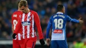 Atletico's 20-match unbeaten run in La Liga ends at Espanyol