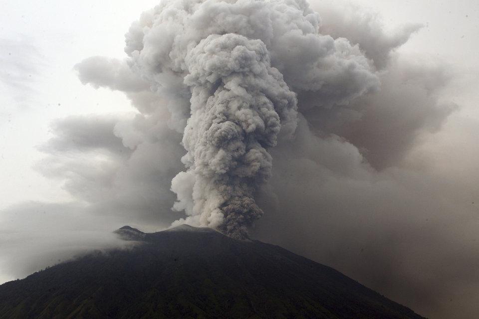 Indonesia's Bali volcano spews thick smoke, ashes