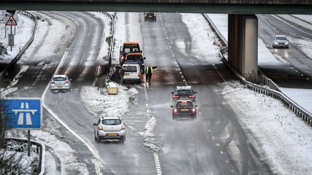UK weather: Snow sparks road warnings and power cuts