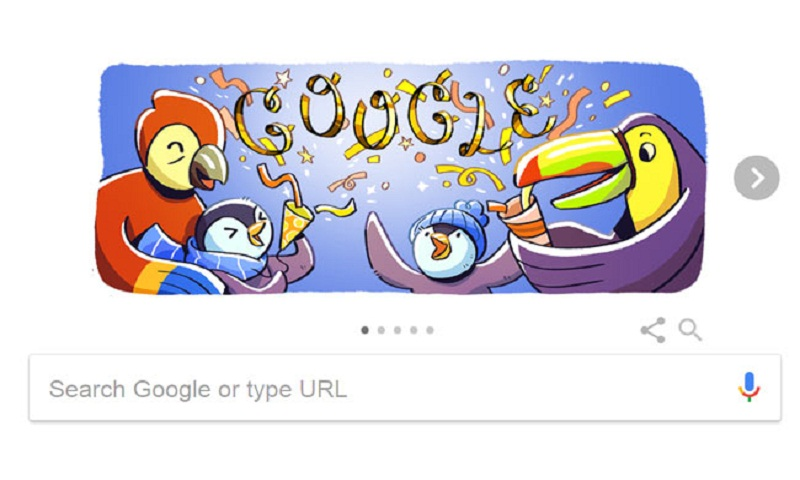 Google Doodle celebrates New Year's Eve 2017 with penguins and parrots