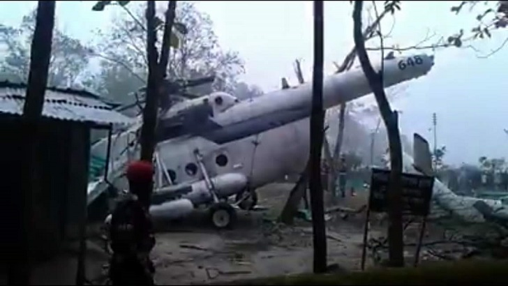 BAF M16 copter makes emergency landing in Sreemangal