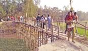 Bamboo bridge to cross the water body
