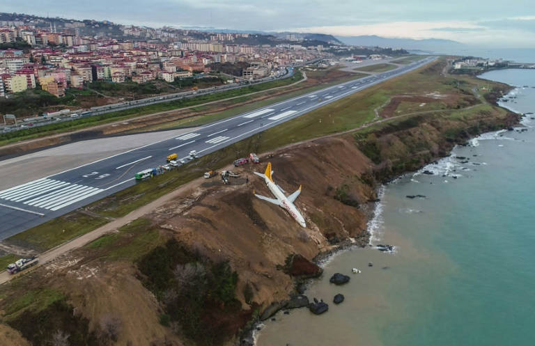 Turkish passenger plane goes off runway metres away from sea