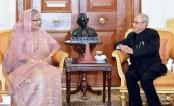 Former Indian President Pranab Mukherjee meets Prime Minister Sheikh Hasina