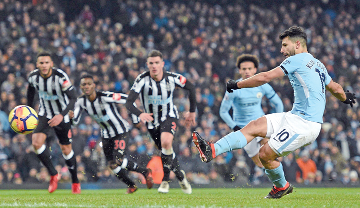 Aguero treble gets City back on track