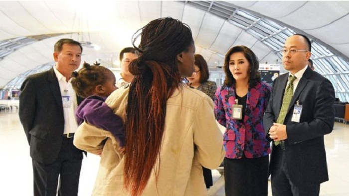 Zimbabwe family leave Bangkok airport after three months