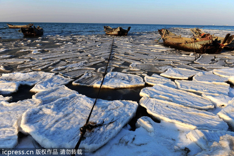 Sea ice alert continues in China's Liaodong Bay | 2018-02 ...