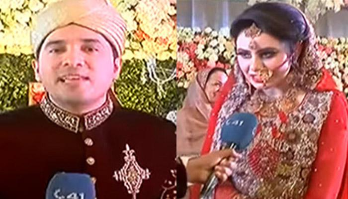 Pakistani journalist covers own wedding, interviews wife (Video)