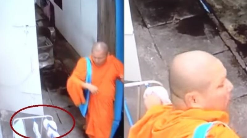 Thai monk spotted stealing women's innerwear in cctv footage
