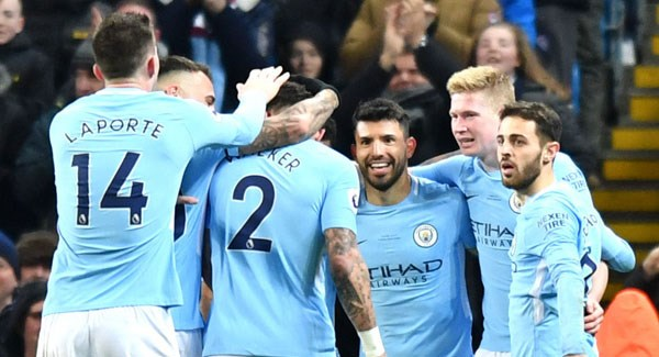 Aguero scores 4 as leader Man City thrashes Leicester 5-1