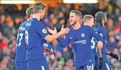 Hazard double eases Chelsea's pressure