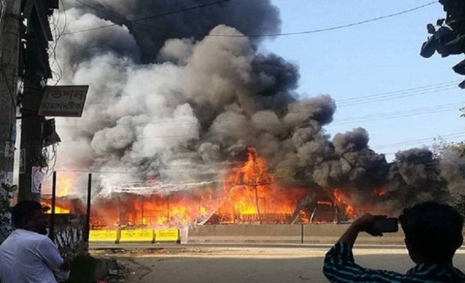 100 shops gutted in Chittagong fire