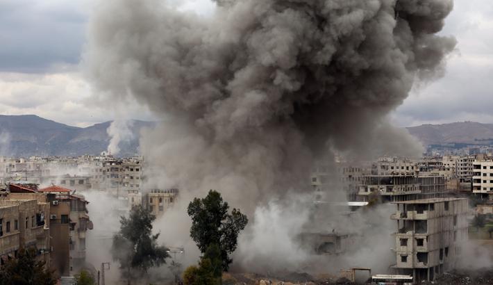 Strikes pound Syria enclave as world fumbles for response