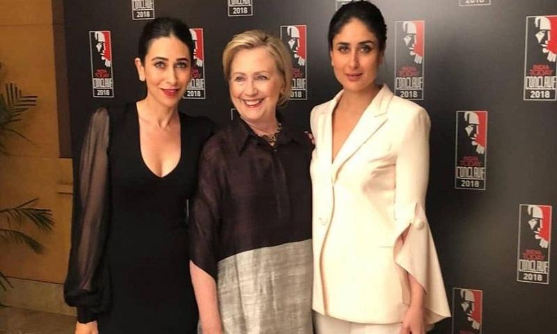 Kareena Kapoor Khan, Karisma Kapoor pose with Hillary Clinton