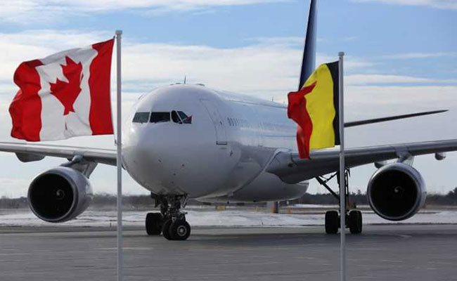 Belgian royals greeted in Canada with German flag