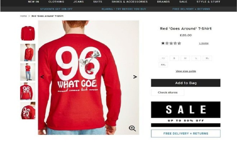 Topman urged to withdraw shirt after Hillsborough anger