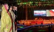 Prime minister enjoys cultural show at Bangabandhu Stadium