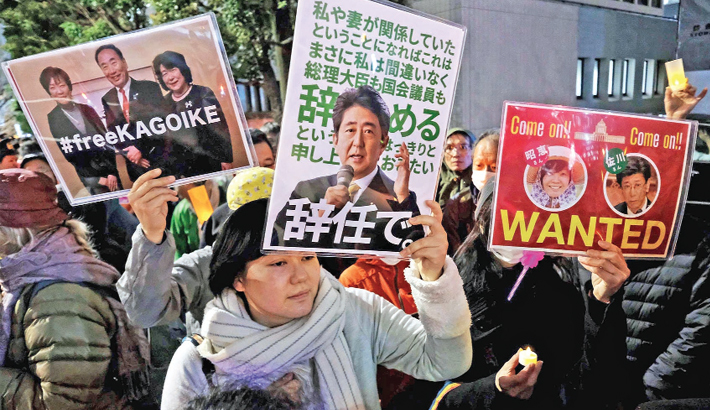 Japan protesters demand Abe resign over scandal