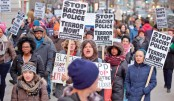 Demonstrators protest along Michigan Avenue