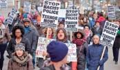 Demonstrators protest along Michigan Avenue