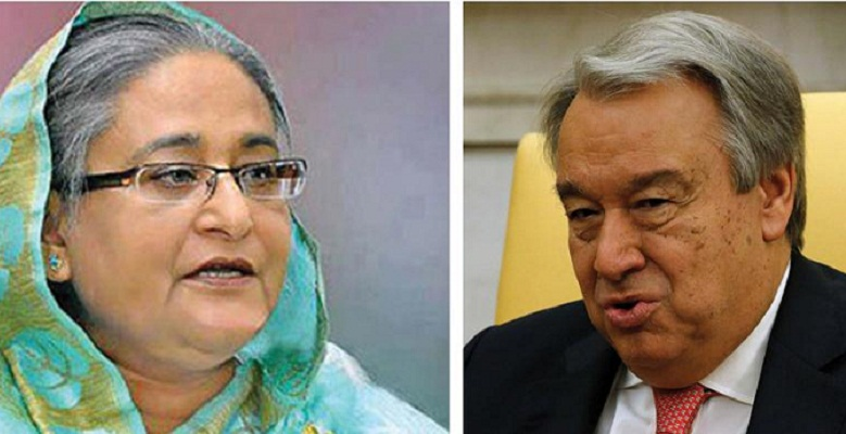 PM urges UN chief to see Rohingyas' plight physically