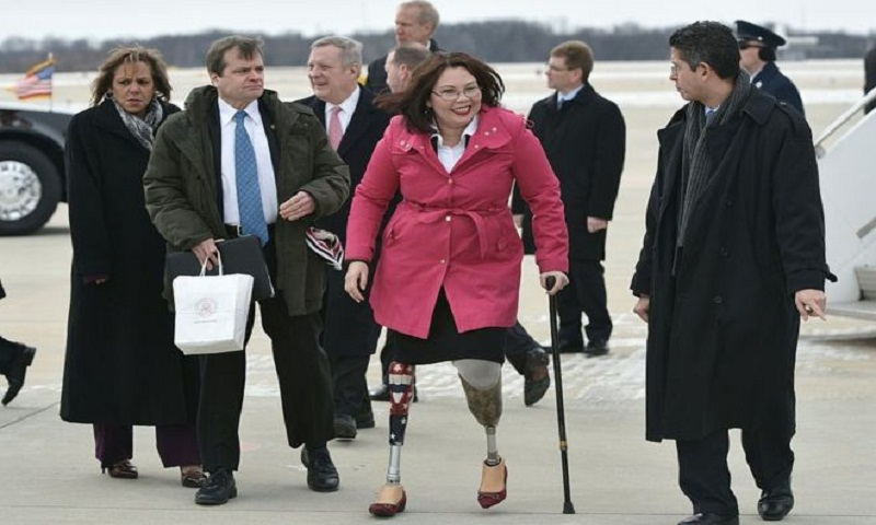 Tammy Duckworth becomes first US senator in office to give birth