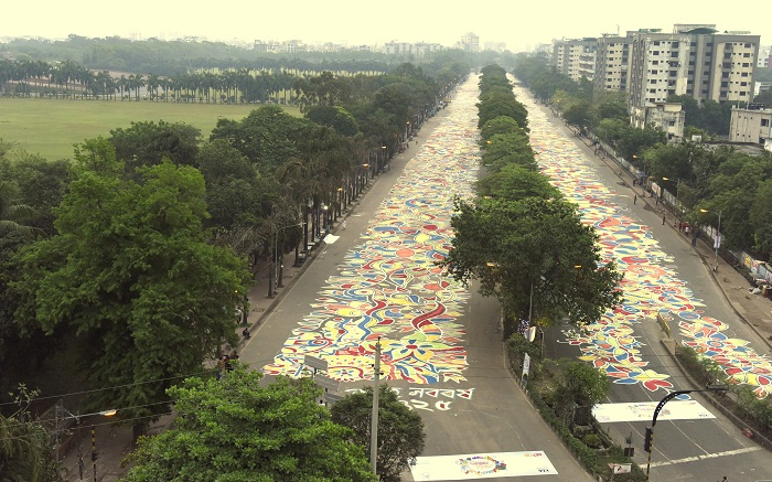 Manik Mia avenue adorned with Alpona marking Bangla New Year