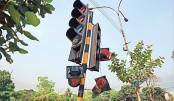Traffic signal lies damaged