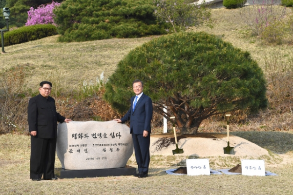 Leaders Of Koreas Jointly Plant Pine Tree To Symbolize Peace And