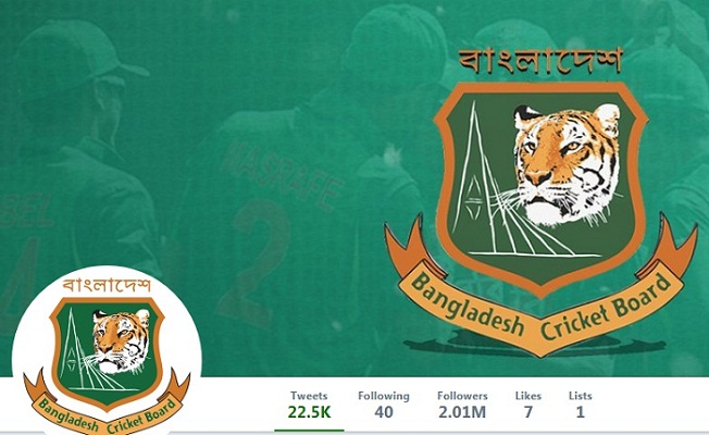 BCB tops Twitter follower list in Bangladesh