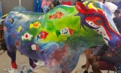 Taiwanese flag on bull artwork painted over in Australia