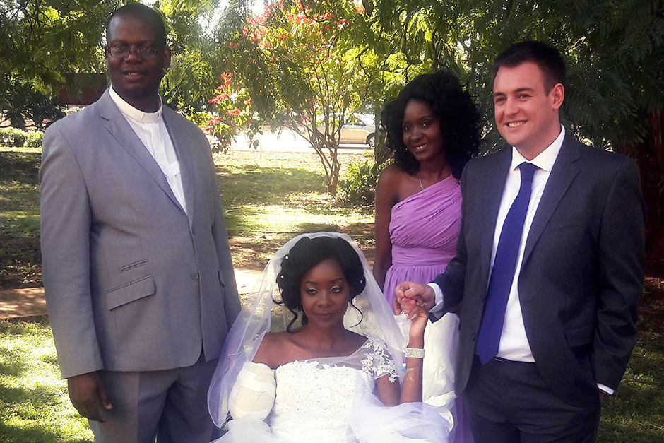 Couple weds in hospital days after bride lost arm in crocodile attack