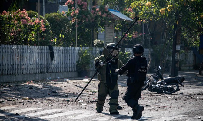 Explosion hits police headquarters in Indonesia's Surabaya