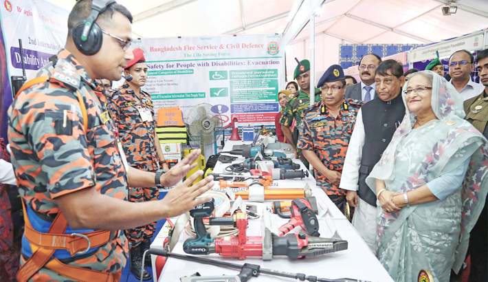 Prime Minister Sheikh Hasina visits a stall
