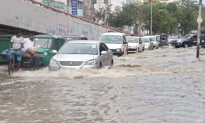 Dhaka residents struggle as rain causes waterlogging