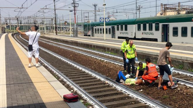 Italians shocked by man's selfie after train accident