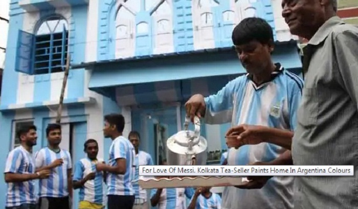 Messi-lover Kolkata tea-seller paints home in Argentina colours