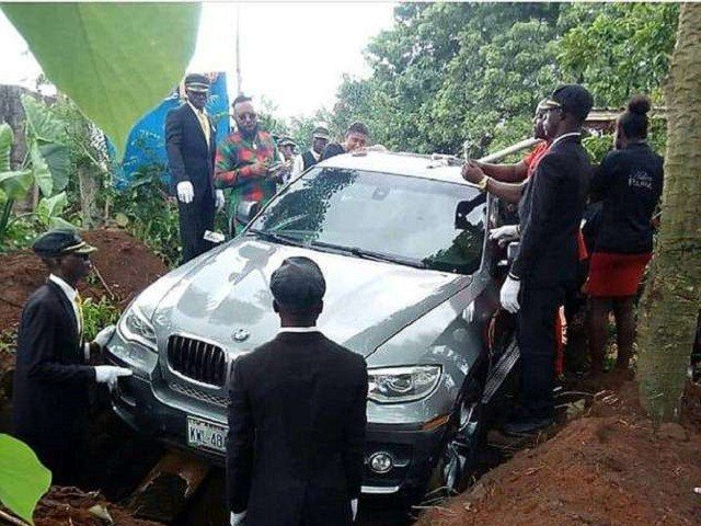 Man buries father in brand new BMW car instead of coffin