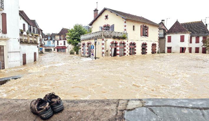 heavy rains in Salies-de-Bearn