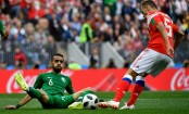 Russia lead 2-0 at half-time of World Cup opener