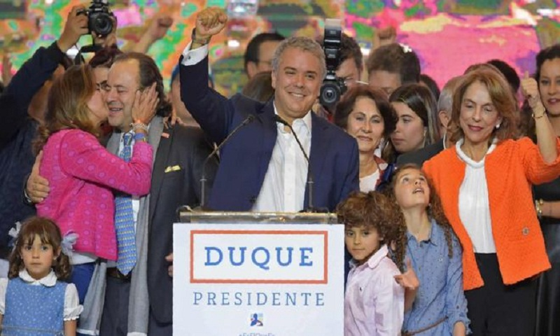 Conservative newcomer Ivan Duque wins Colombia's presidential election
