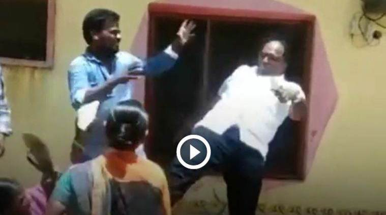Indian Telangana local body chief kicks woman in the chest over land dispute