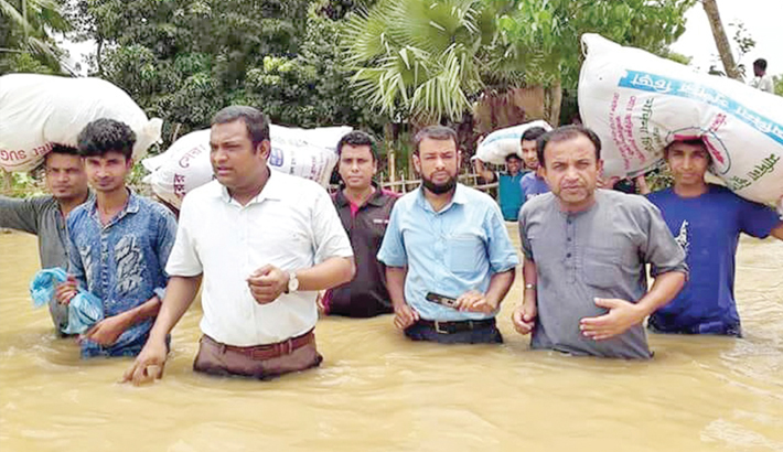 Relief goods among flood affected people