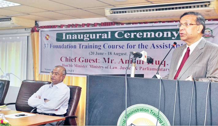 Law Minister Anisul Huq speaks at the inaugural ceremony
